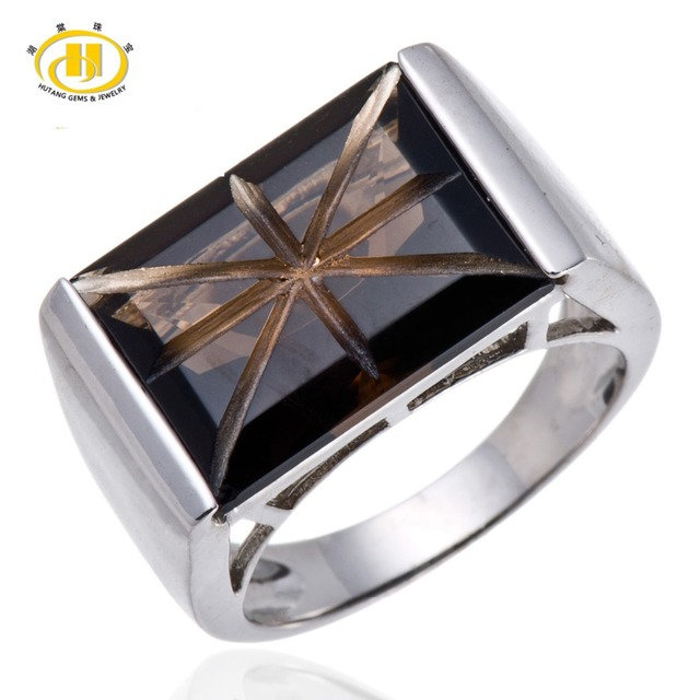 Hutang Genuine Smoky Quartz Solid 925 Sterling Silver Solitare Ring UK Flag For Fine HuTang Jewelry