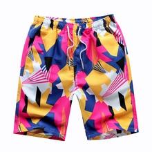 2019 de verano de los hombres pantalones cortos bañador tipo bóxer transpirables cortos de la bola del dragón del impreso pantalones cortos de playa de los hombres cortos elástico en la cintura 4XL