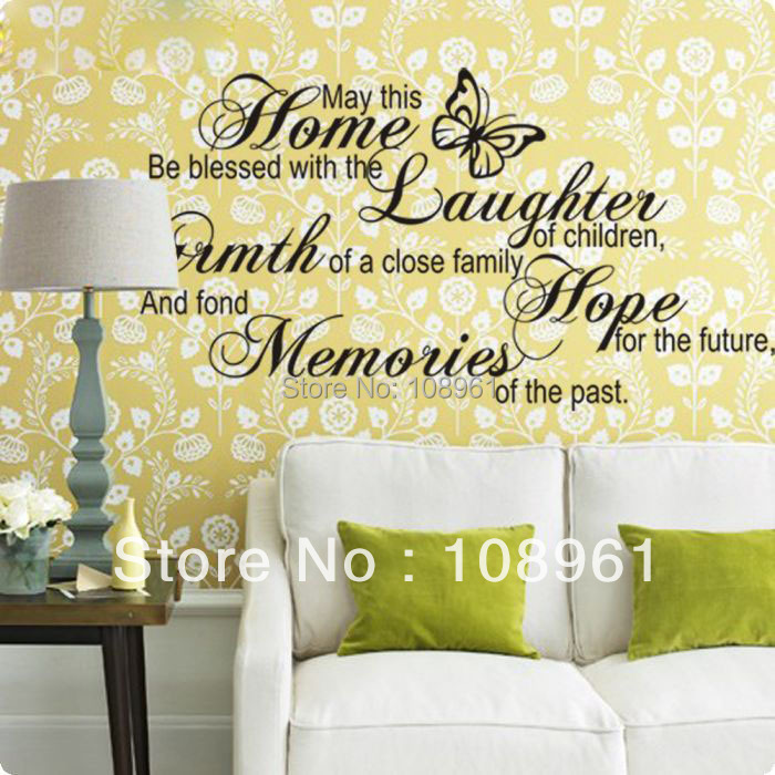 Butterfly May This Home Be Blessed Vinyl Wall Art Decals Quotes ...