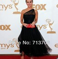 Red Carpet A-Line Hot Sale One Shoulder Special Occasion Dress Blackness See Through Sexy Celebrity Dresses