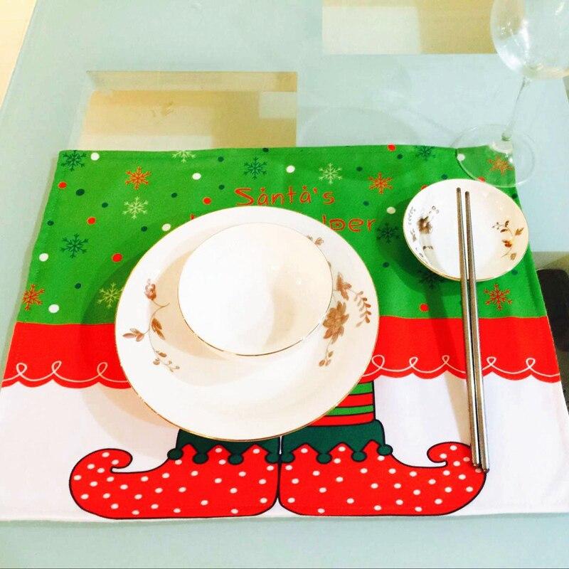 (2 pieces/lot) Santas Little Helper Christmas Ornament Elf Placemat Noel Decoration 33x43cm Polyester Elf Table Mat C030