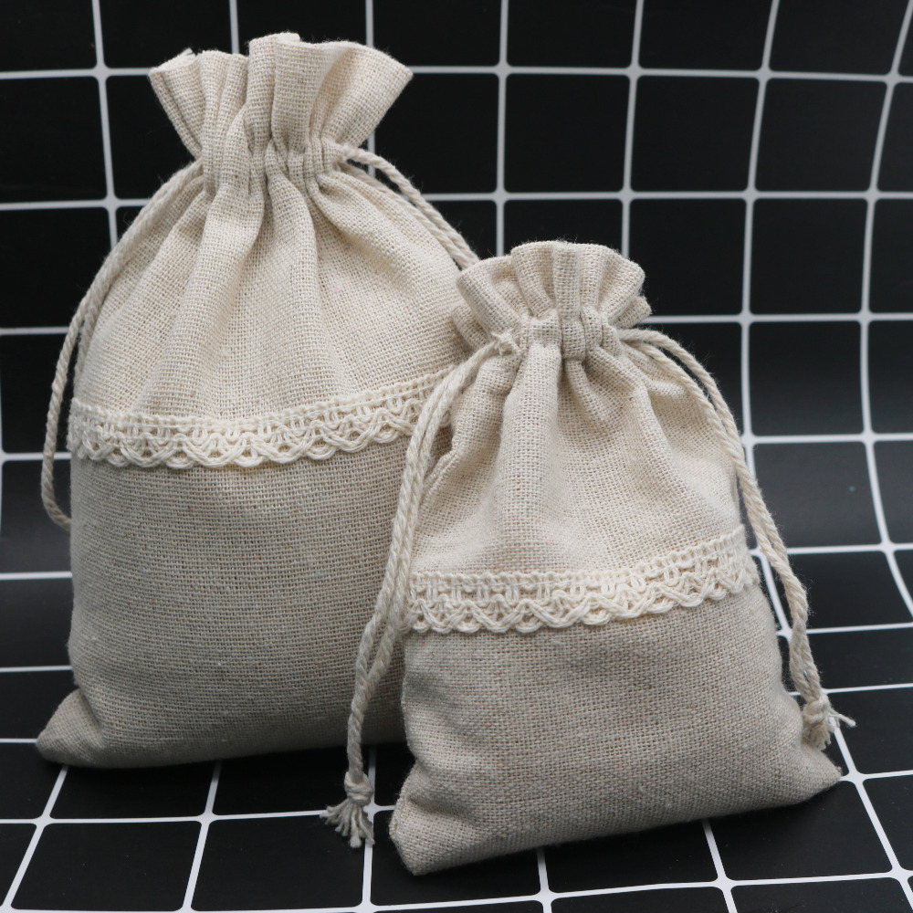 5PCS 2sizes Nature Cotton Cloth Gift Jewelry Bags Lace Sweet Drawstring Bags For Cute Jewelry Packing Storage Package Bag