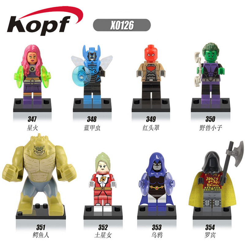 Super Heroes Building Blocks Killer Croc Red Hood Raven Starfire Saturn Girl Bricks Dolls Figures For Children Gift Toys X0126