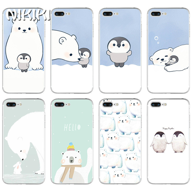 NIKIKI Polar Bear Penguin Animals Patterned Soft Thin Silicone Phone Cases Cover For iphone 7 6 6S 8 Plus X 5s SE Coque Fundas
