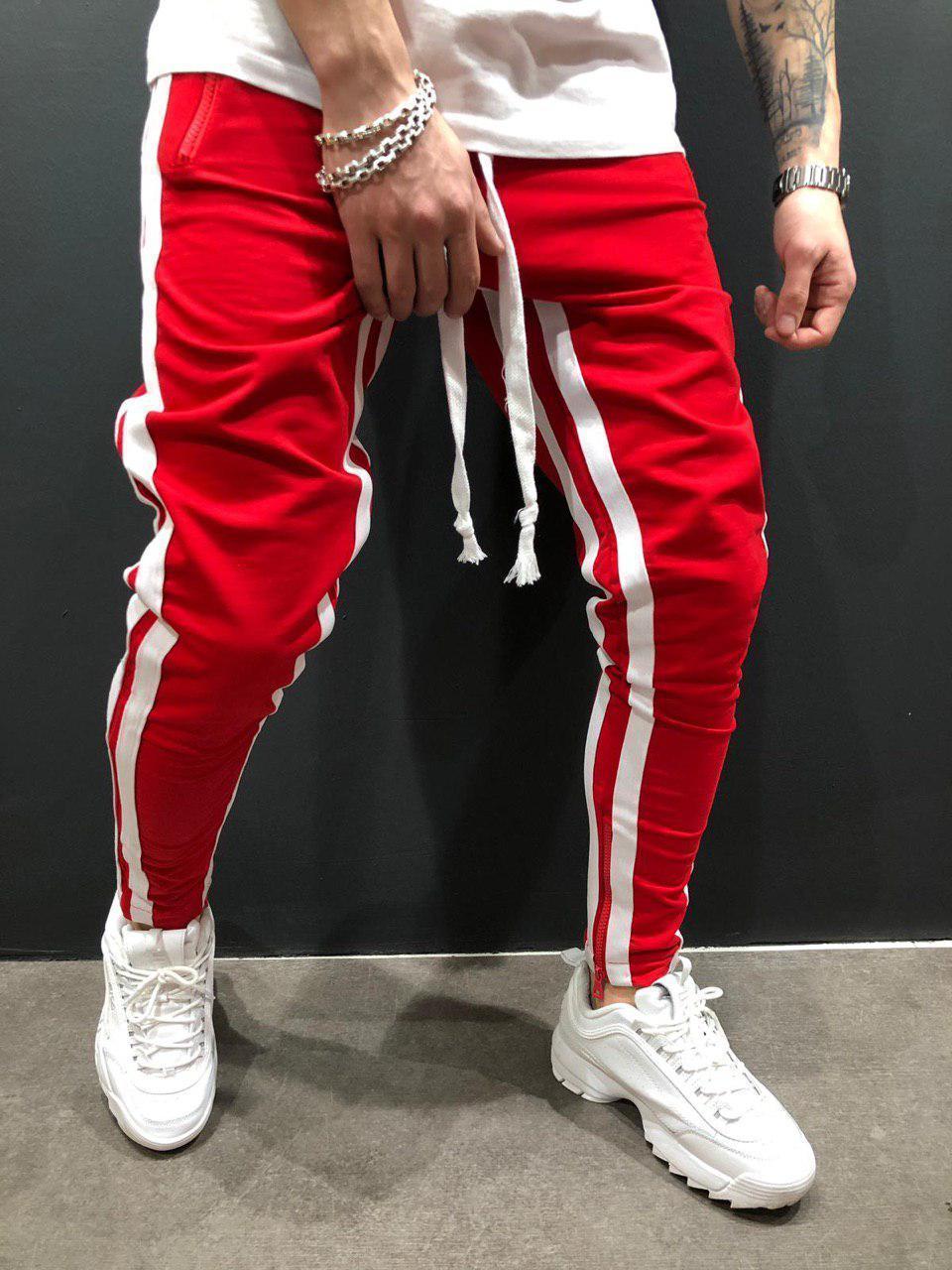 Мужские брюки для отдыха, бодибилдинга, с разрезом, на молнии, для ног, для движения, брюки для бега, спортивные штаны - Цвет: Red white