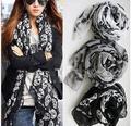 América moda mulheres meninas quente voile de Algodão lenços de seda longos Esqueleto Cabeça Do Crânio impresso Xailes Do Envoltório preto/branco/cinza