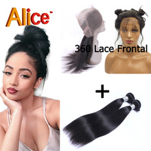 Straight Brazilian 360 Lace Frontal Virgin Hair With 2 Bundles 360 Lace Frontal With Bundle 100% Human Hair Weaves With Frontal