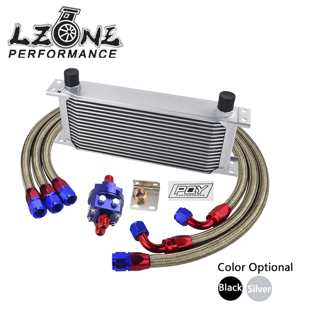 LZONE - UNIVERSAL OIL COOLER KIT 16ROWS OIL COOLER + OIL FILTER ADAPTER + NYLON STAINLESS BRAIDED HOSE WITH PQY STICKER AND BOX vr universal 13 rows trust type oil cooler an10 oil sandwich plate adapter with thermostat 2pcs nylon braided hose line