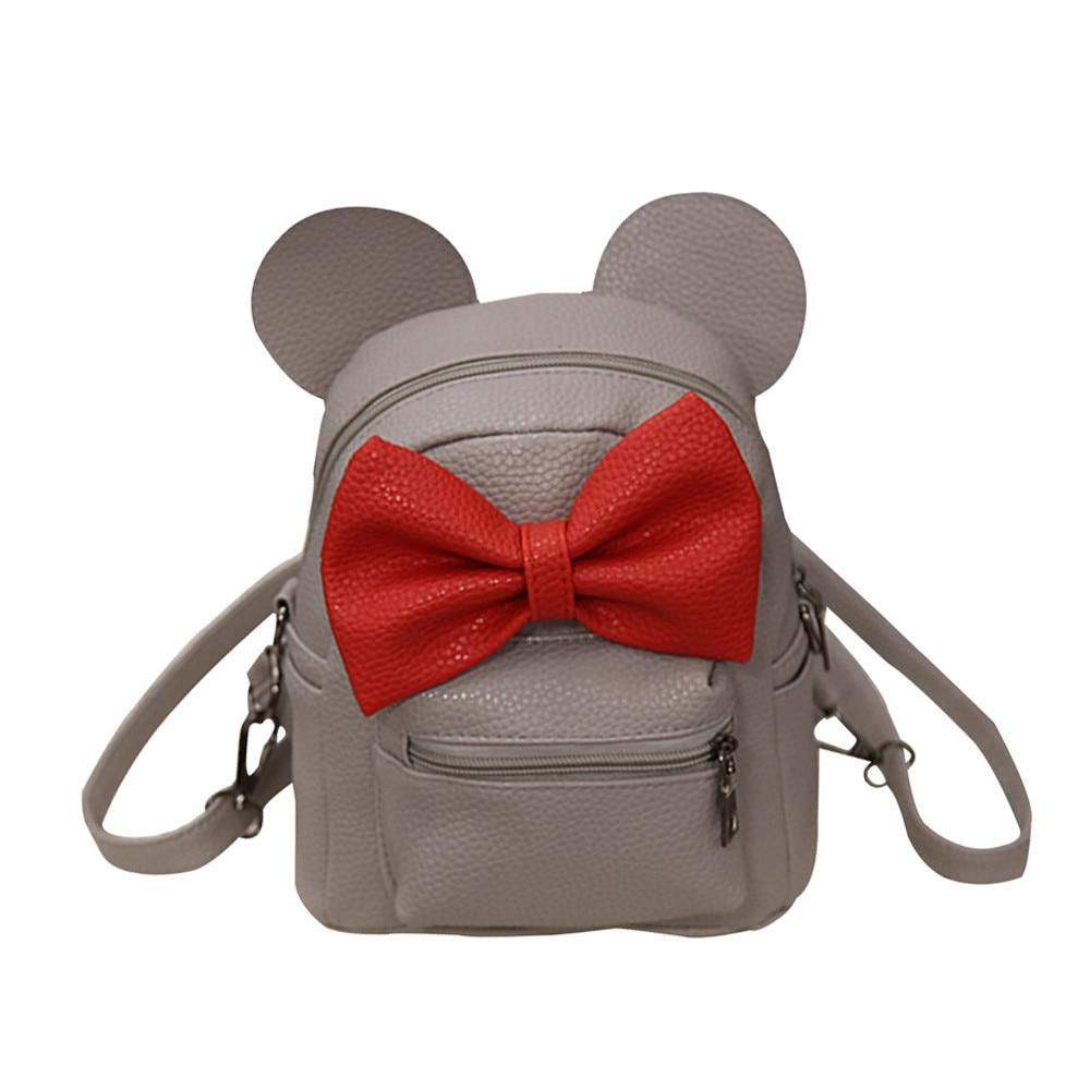 HTB1T86kkXkoBKNjSZFEq6zrEVXaU 2018 New Mickey Backpack Pu Leather Female Mini Bag Women's Backpack Sweet Bow Teen Girls Backpacks School Lady Bag Shoulder bag