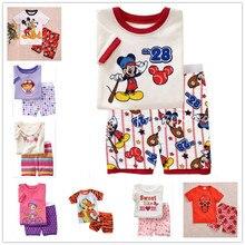 2016 new summer cotton short sleeve clothes sets kids pajamas girls pijama boys children's pyjamas walking clothing set