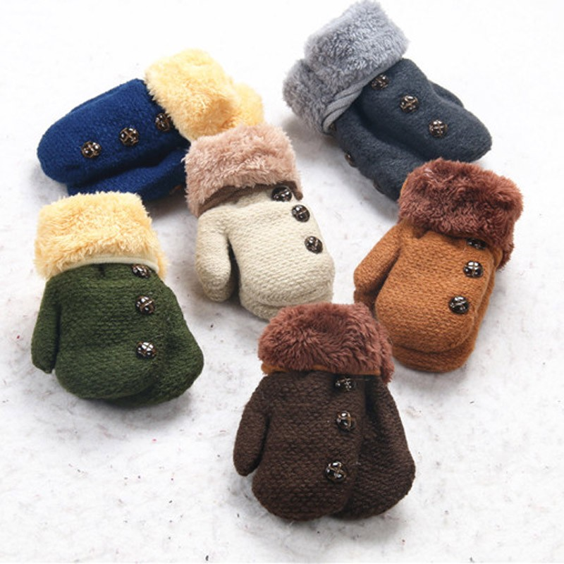 Gloves & Mittens 2019 Fashion Cute Baby Boy Girl Warm Children Gloves Winter New Beetle Double Plus Velvet Men And Women Baby Lanyard Wool Gloves Mother & Kids