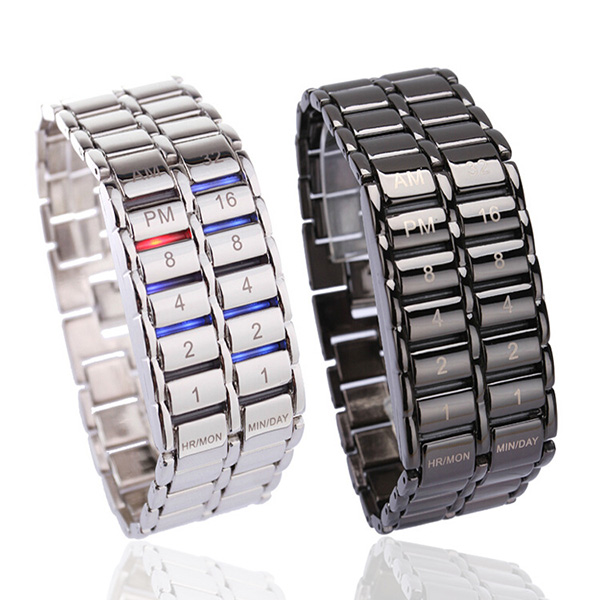 Men's Binary LED Digital Quartz Wrist Watch Father's Day Fashion Creative Gift LXH