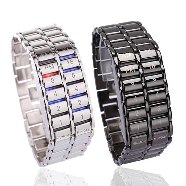 Men's Binary LED Digital Quartz Wrist Watch Father's Day Fashion Creative Gift LXH