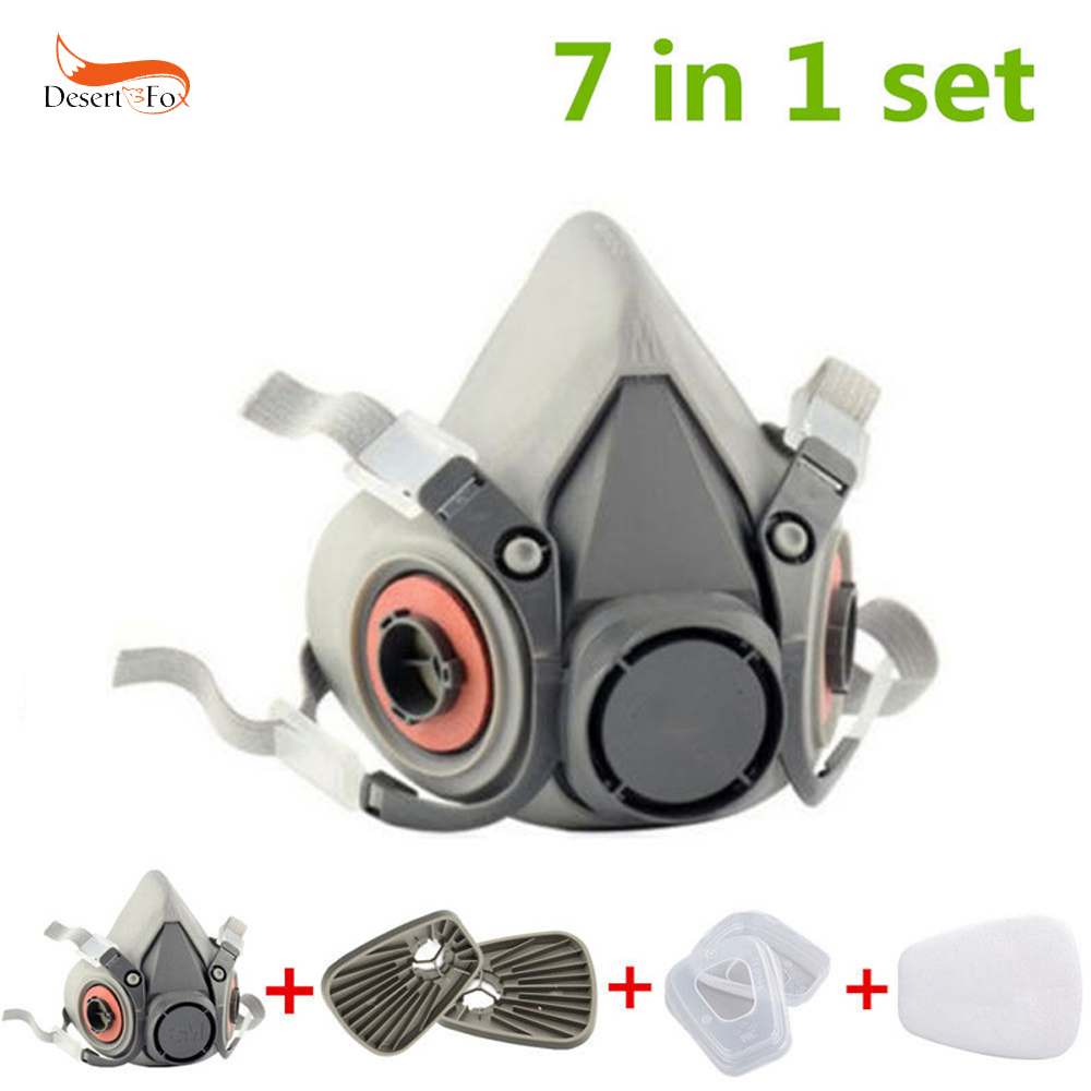 7 in 1 Set Anti-dust Paint Spray Respirator Half Face Facepiece Pesticide Gas Mask For 3M 7502 6200