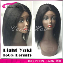 Brazilian Human Hair Wigs Yaki Straight 150% Density Glueless Full Lace Wigs Italian Yaki Lace Front Wigs for Black Women