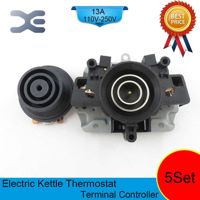 5set/lot T125 13A 110-250V NC Terminal Controller New Kettle Thermostat Unused Spare Parts for Electric Kettle EK1702 цена и фото