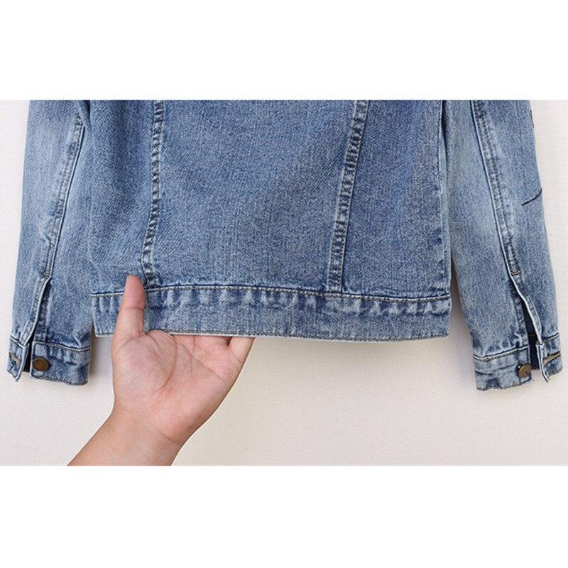 Femmes Manteaux Taille Femelle Court Veste Automne Denim Light Jeans Grande Vintage 2018 Bases Blue Broderie Nouvelle Harajuku Mince Dames Z4qFIw7Z