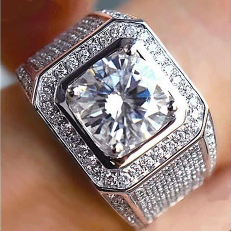 95%ของG ALAXYหรูหราคลาสสิกวินเทจผู้ชายแหวนเงินจริงชุบ289ชิ้นcz 8มิลลิเมตรD Iamantหินแหวนแต่งงานสำหรับผู้ชายขนาด8/9/10/11