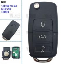 1J0 959 753 DA WALKLEE/753DA/1JO Remoto Chave 434 MHz Fit para SKODA Octavia Octavia Superb Yeti 1J0959753DA Keyless da Entrada Do Carro