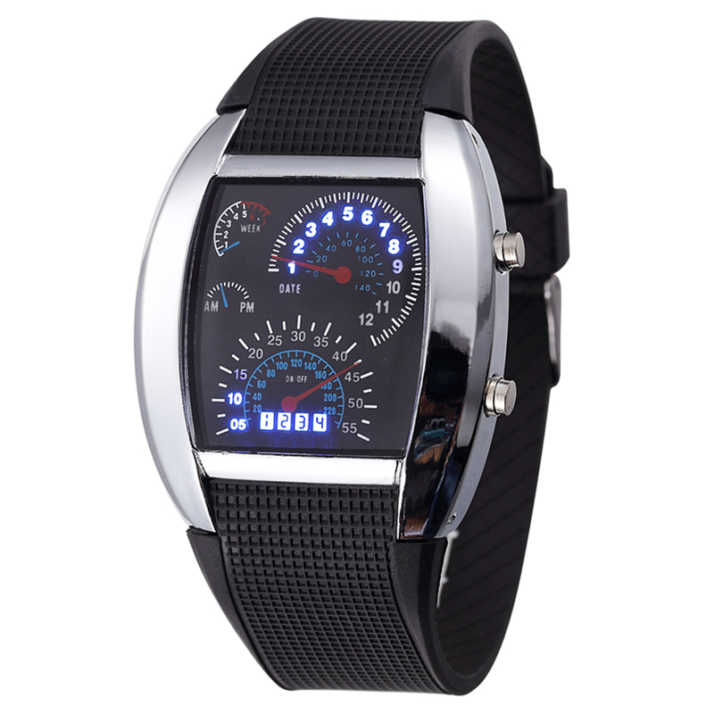 Digital Watch Strap Military-Wristwatch Men Sports Silicone Men's Dial LED Car-Meter