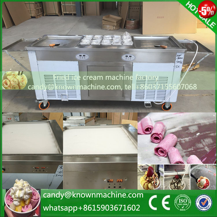 Three compressor with pedal defrost and temperature control Cold pan fry ice cream roll machine,fried ice cream roll pan  цены