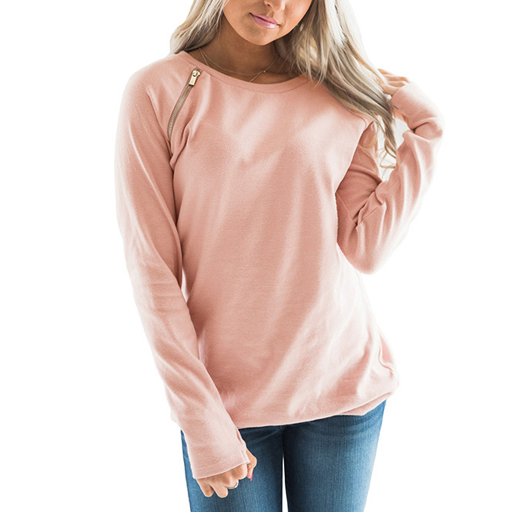 New Women Fashion Long Sleeve Hoodie Sweatshirt Harajuku Zipper O-Neck Hooded Pullover Tops Casual Loose Coat 3 Color Sudaderas