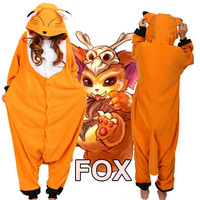 Fox homewear Pajamas Anime Carton Costume Unisex Adult Onesie Sleepwear robe