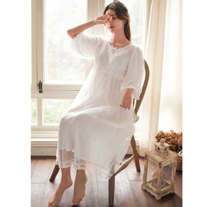 ea05a01dcf018 2019 New White Solid Night Dress Vintage Nightgown Princess Sleepwear Women  Home Wear Sleepdress Romantic Lace Sleepshirts T436