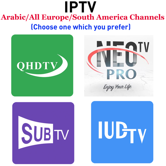 IUDTV QHDTV Subtv NEOTV PRO H265 1 ano Assinatura IPTV Android caixa de tv APK m3u Smart tv Árabe França Suécia países baixos TV