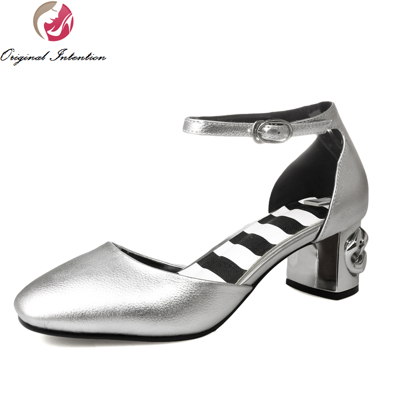 ФОТО Super Elegant Women Sandals 2017 Square Toe Square Heels Sandals Cow Leather Fashion Green Silver Shoes Woman Size 4-10.5