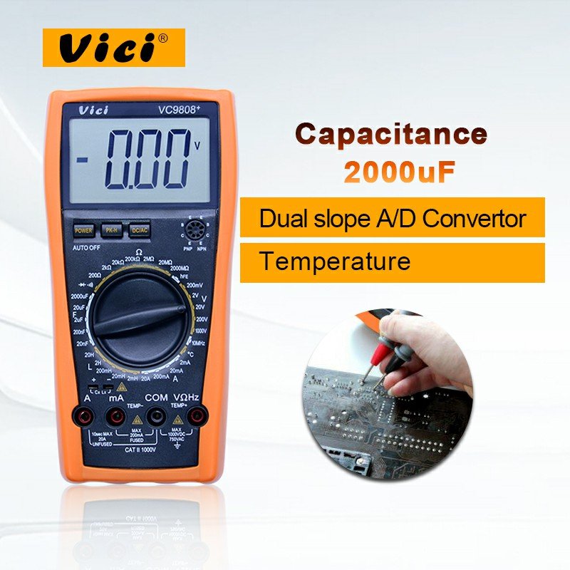 Digital Multimeter VC9808+ 3 1/2 with DCV ACV DCA ACA Resistance Inductance Capacitance Frequency Measurement Large LCD Display victor vc9808 3 1 2 digital multimeter dcv acv dca r c l f