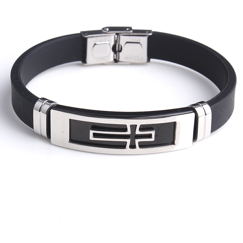 free shipping Cross Silicone 316L Stainless Steel bracelets for men