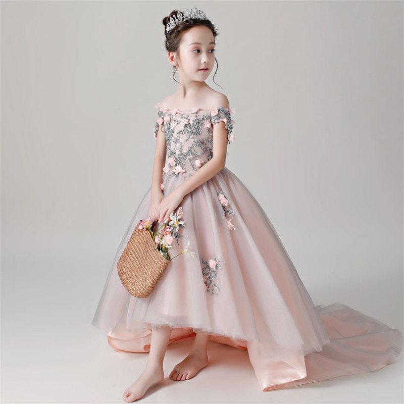 Elegant Children Girls Luxury Birthday Evening Party Long Mesh Tail Dress Teens Kids Piano Model Show Pageant Shoulderless DressElegant Children Girls Luxury Birthday Evening Party Long Mesh Tail Dress Teens Kids Piano Model Show Pageant Shoulderless Dress