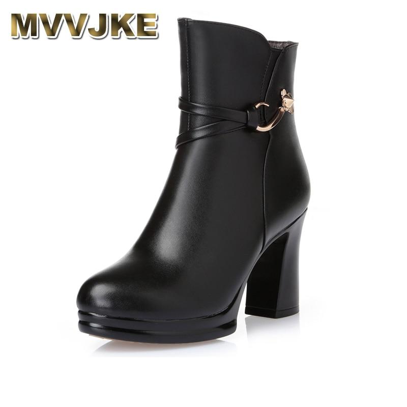 MVVJKE Women Platform Ankle Boots Round Toe High Heels Winter Shoes Woman Genuine Leather Boots Ladies Autumn Boots cuculus 2018 women boots fashion pu leather round toe ankle boots sexy lace ladies high heels platform shoes woman 331