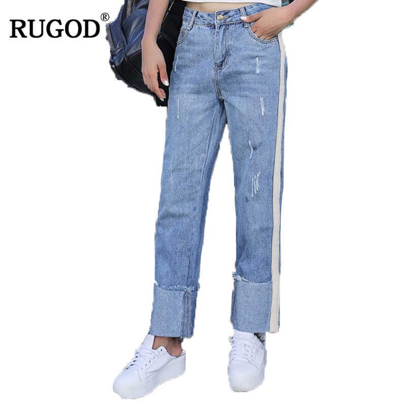 RUGOD Nieuwe Collectie Korea Wijde Pijpen Broek Hoge Taille Enkellange Broek Krimpen Rechte Jeans Voor Vrouwen Casual Mode ladie Broek
