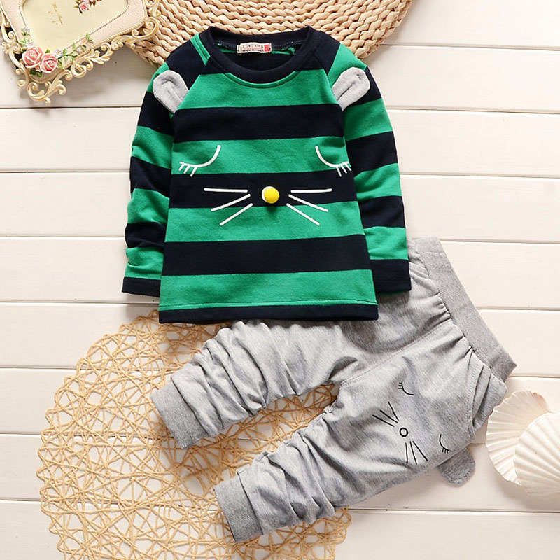 Baby Boys Girls Clothes 2017 Cartoon Cats Striped Long Sleeved T-shirts + Gray Pants Christmas Outfits Kids Bebes Jogging Suits