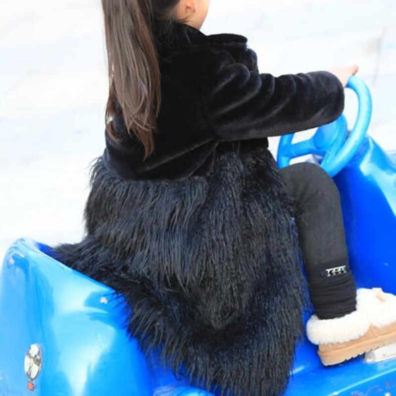 2018 New Autumn And Winter Children's Clothing Girls Faux Fur Coat Long Boy Korean Windbreaker Single-breasted Overcoat QV77