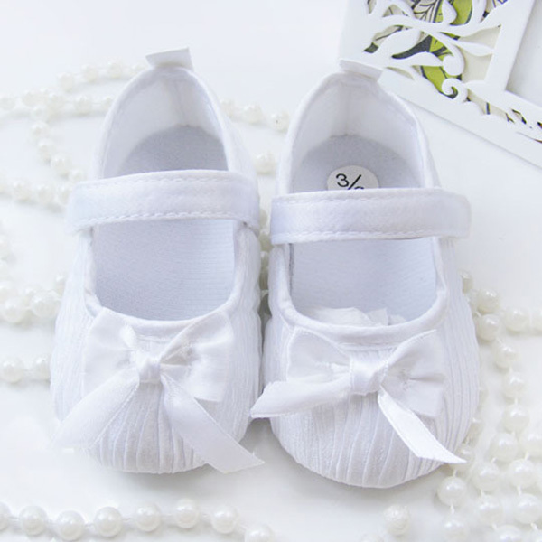 Popular Front-line Store Cute Hot Selling  Toddler Shoes Baby Kids Girls Bowknot Satin Crib Shoes Princess Shoes Size 0-18M