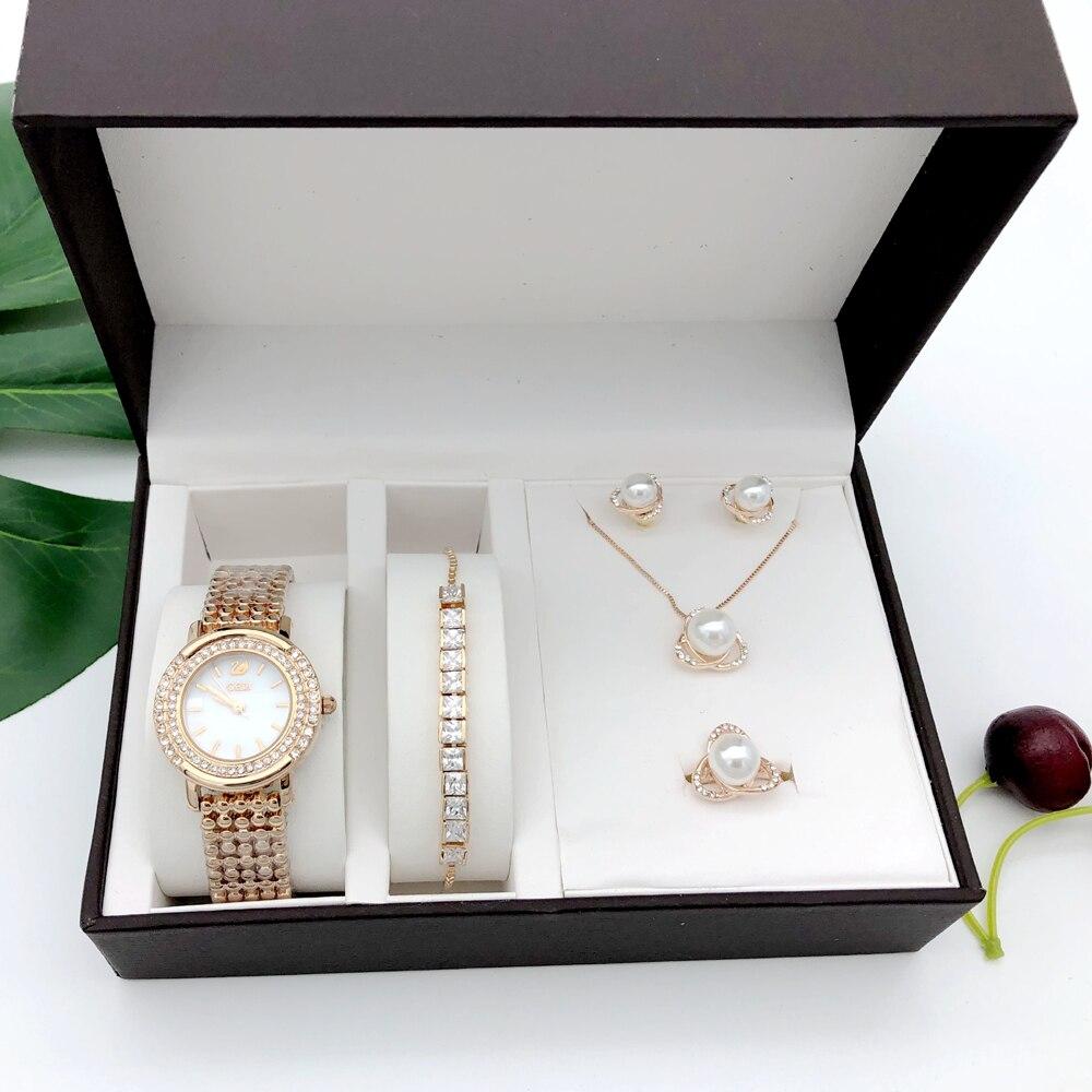 Montre Quartz pour femmes ensemble de luxe 5 pièces Bracelet collier anneau boucles d'oreilles femmes cadeau d'anniversaire mode saint valentin cadeau avec boîte