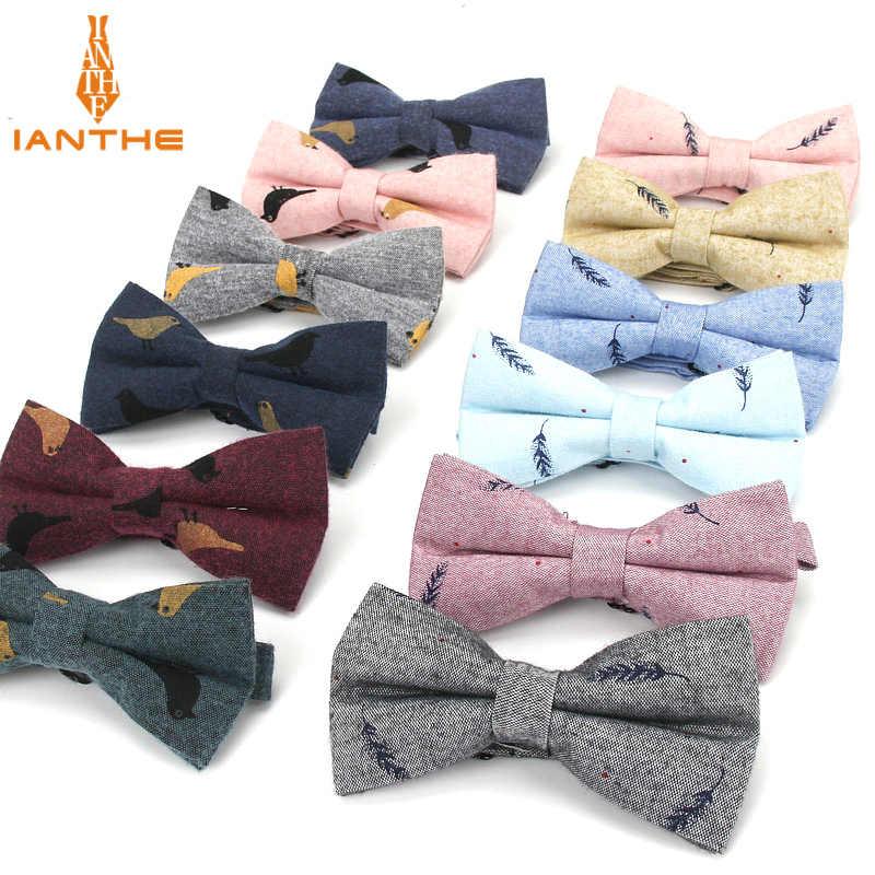 f8fe93c5d96a 2018 Brand New Design Bird Bow Tie Men's Cotton Leisure Butterfly Handmade  Vintage Leaf Print Tuxedo