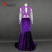 African 2017 Hot Sell Prom Evening Dresses Two Pieces Sexy Mermaid Purple Velvet Long Sleeves Lace
