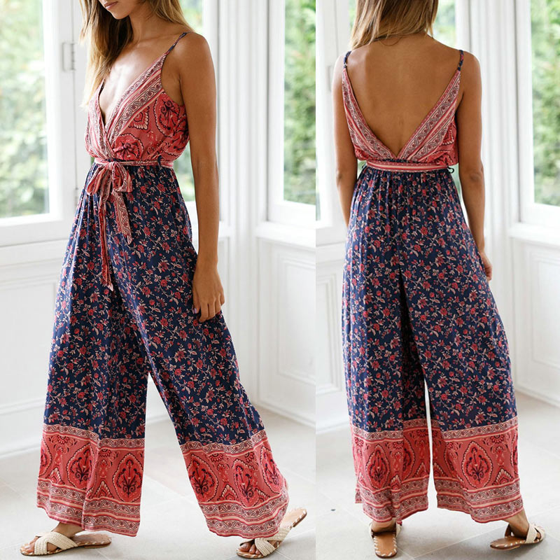 Women Print   Jumpsuits   Deep V Neck Strappy Sleeveless Backless   Jumpsuit   for Summer -MX8