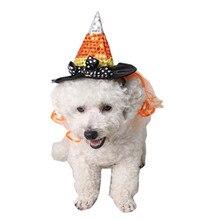 Perro de mascota Halloween adornos Bola de vacaciones decoración perro sombrero  bruja apuntando Cap Pet suministros de Halloween 8d25f7c54cb