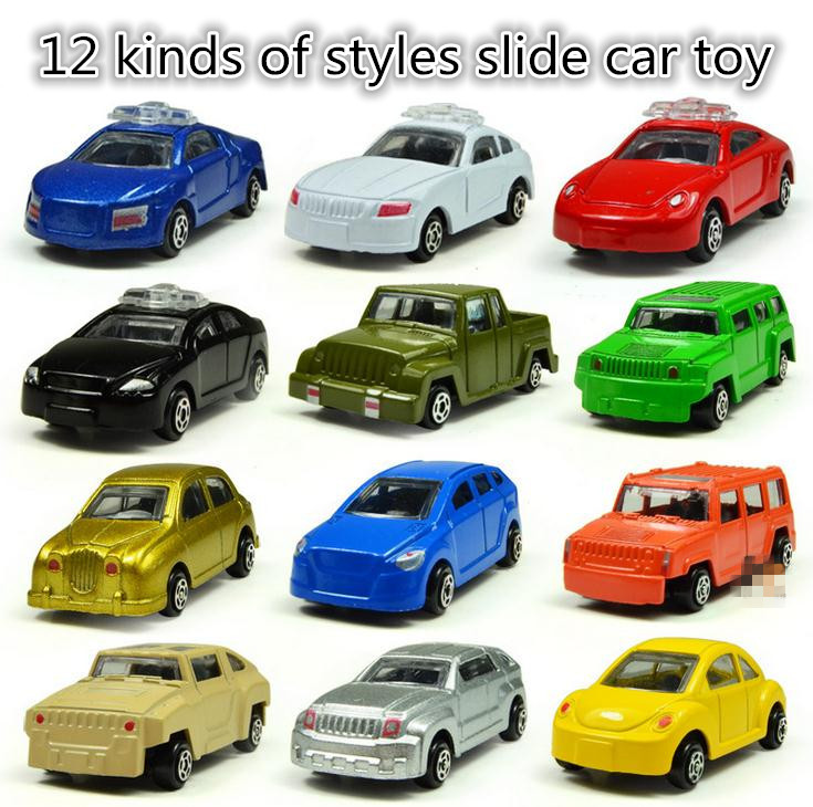 Classic toys! Alloy car toy model,Sliding car random mixed,12 pieces / lot ,  intellectual toys,Free shipping