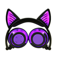 Bluetooth Cat Ear Earphone Wireless Headphones with mic Flashing Glowing Light for Phone Best Christmas Gift for Girls Kids