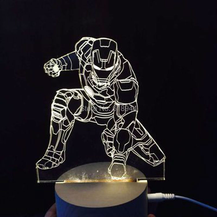 2016 Hot Selling Wooden Modern LED Desk Lamp Creative Fashion Bedroom Bedside Night Light Birthday Gift  Iron Man