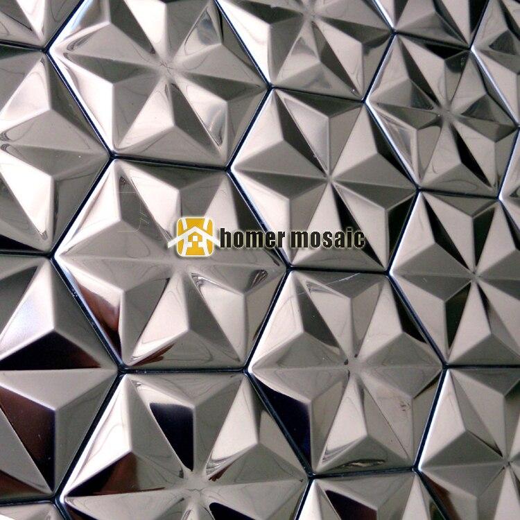 Snowflake Shape Self Adhesive Stainless Steel Mosaic Tiles Kitchen Backsplash Metal Mosaic Fireplace Mosaic Living
