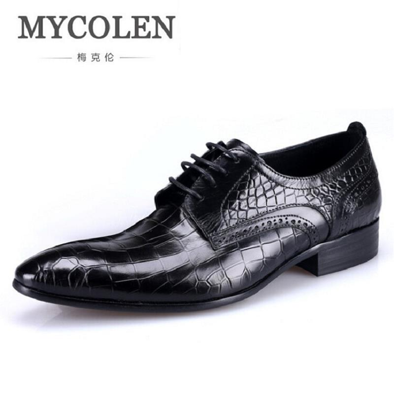 MYCOLEN Black Oxford Shoes For Men Genuine Leather Men Shoes Embossed Stone Leather Men Dress Shoes Men Oxfords Wedding Flats hot sale italian style men s flats shoes luxury brand business dress crocodile embossed genuine leather wedding oxford shoes
