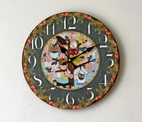 Colorful Floral Owl Pattern Design Wood Wall Clock 35CM Round Decorative Digital Clock