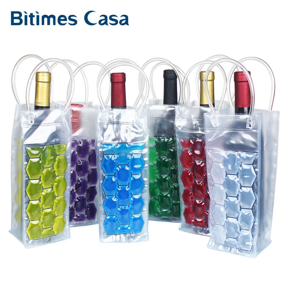 Hielo rápido vino cerveza PVC bolso más fresco al aire libre bolsa de Gel de hielo Picnic CoolSacks enfriador de vino enfriadores congelado bolsa botella refrigerador